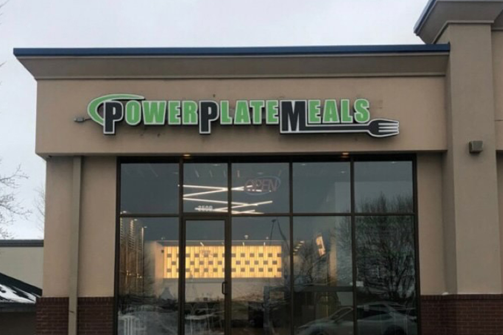Power Plate Meals Building Sign